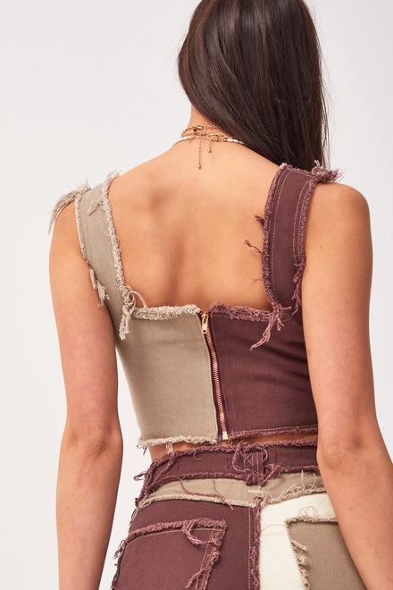 Brown Patchwork Denim Corset Top