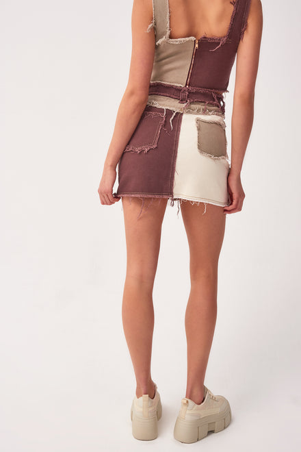 Brown Patchwork Denim Skirt