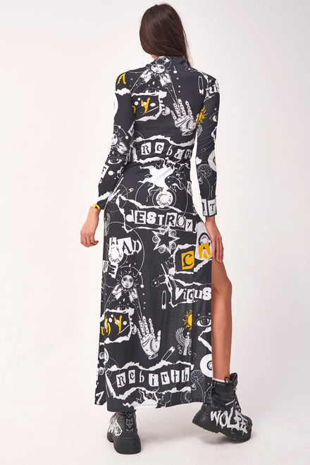 Punk Print Long Sleeve Maxi Dress With Thigh Split