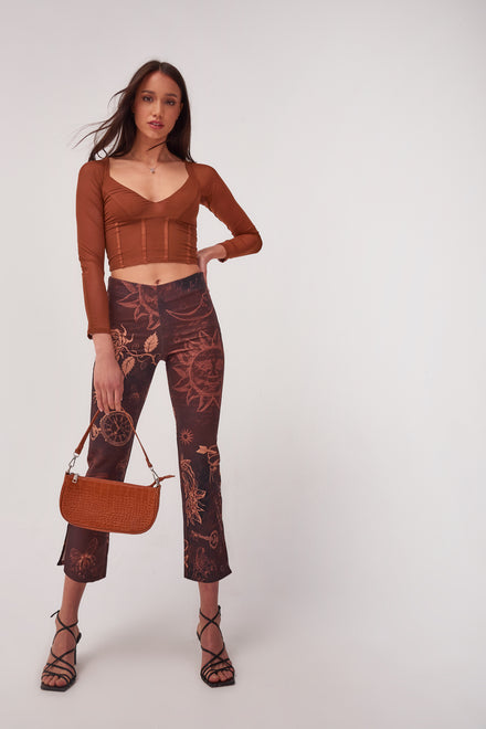 Mystic Tattoo Print Kick Flare Trousers