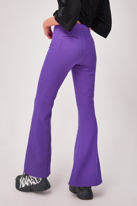 Purple Split Front Flared Leg Trousers