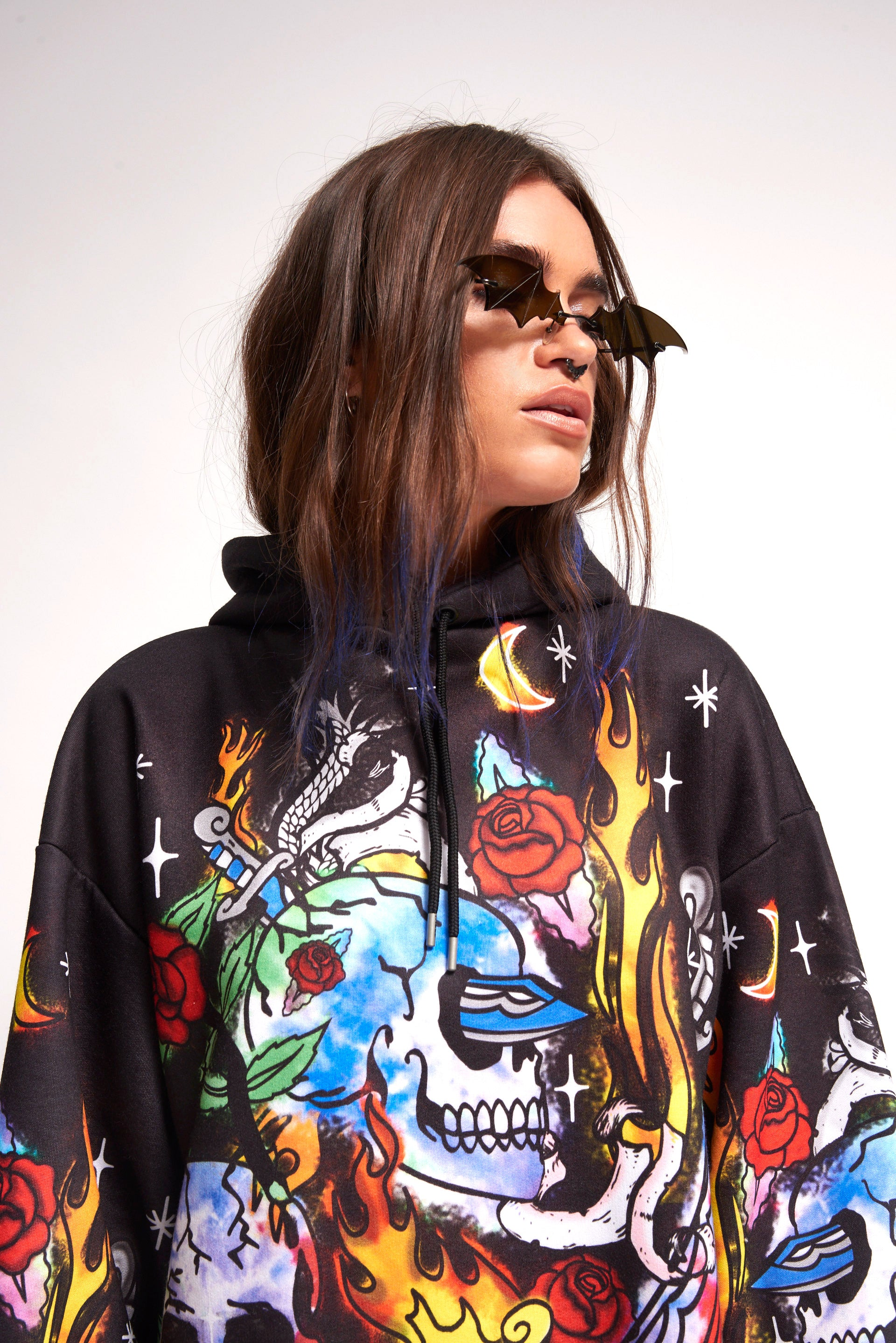 Skull Print Oversized Hoodie Dress