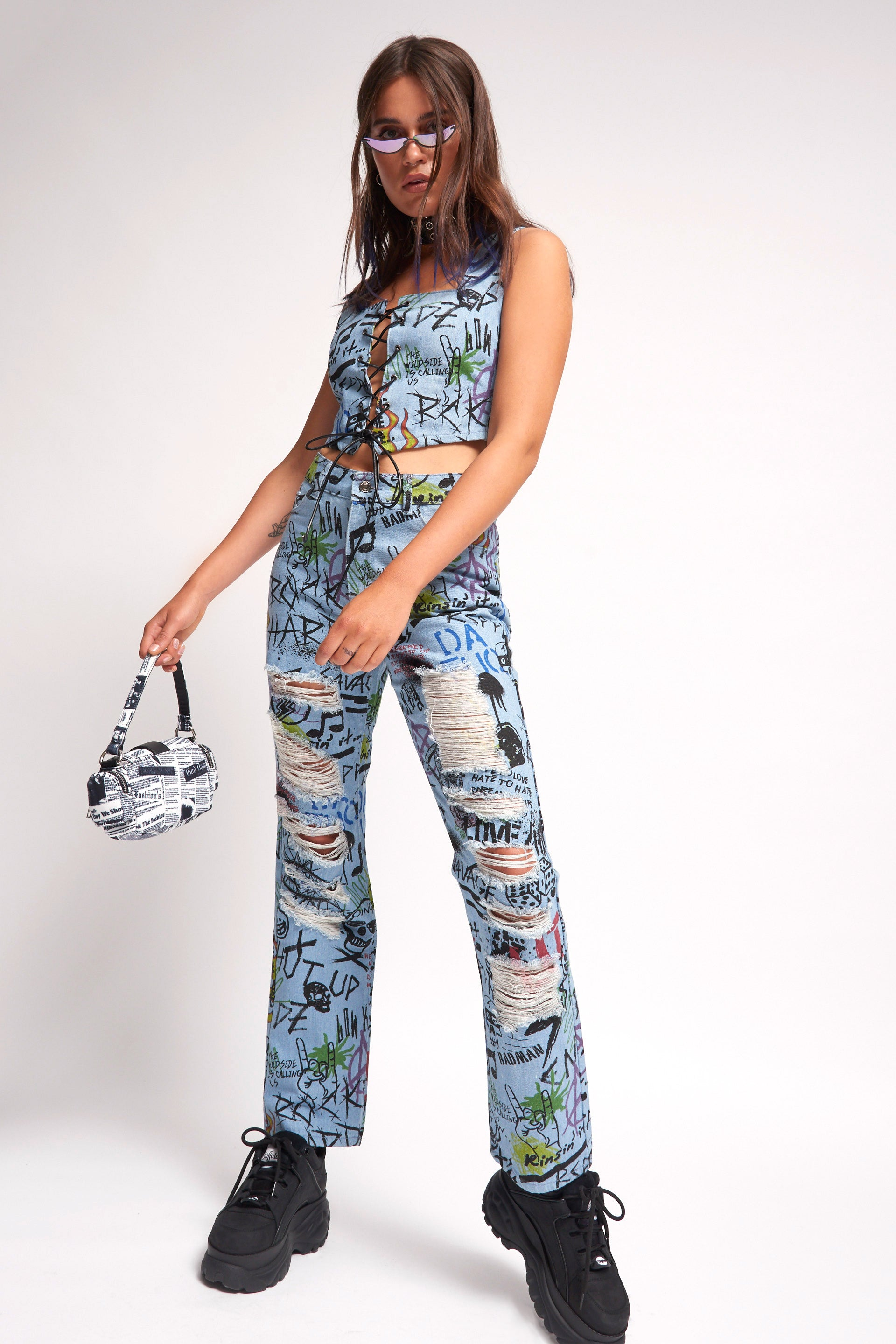 Graffiti Print Denim Corset Top