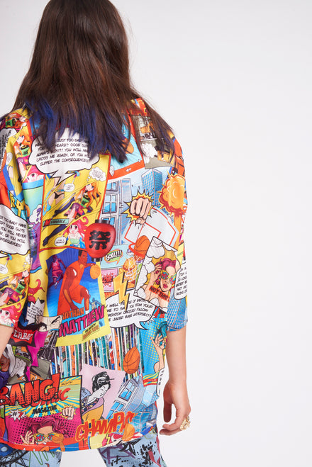Comic Book Print Oversized Shirt