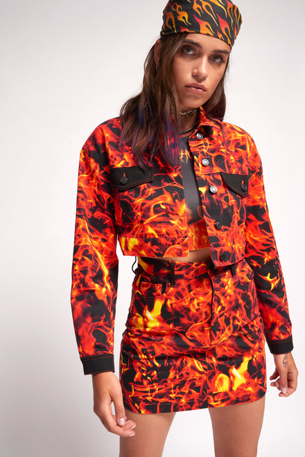 Flame Print Cropped Denim Jacket