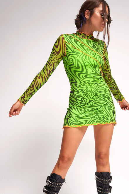 Green Psychedelic Printed Mini Dress