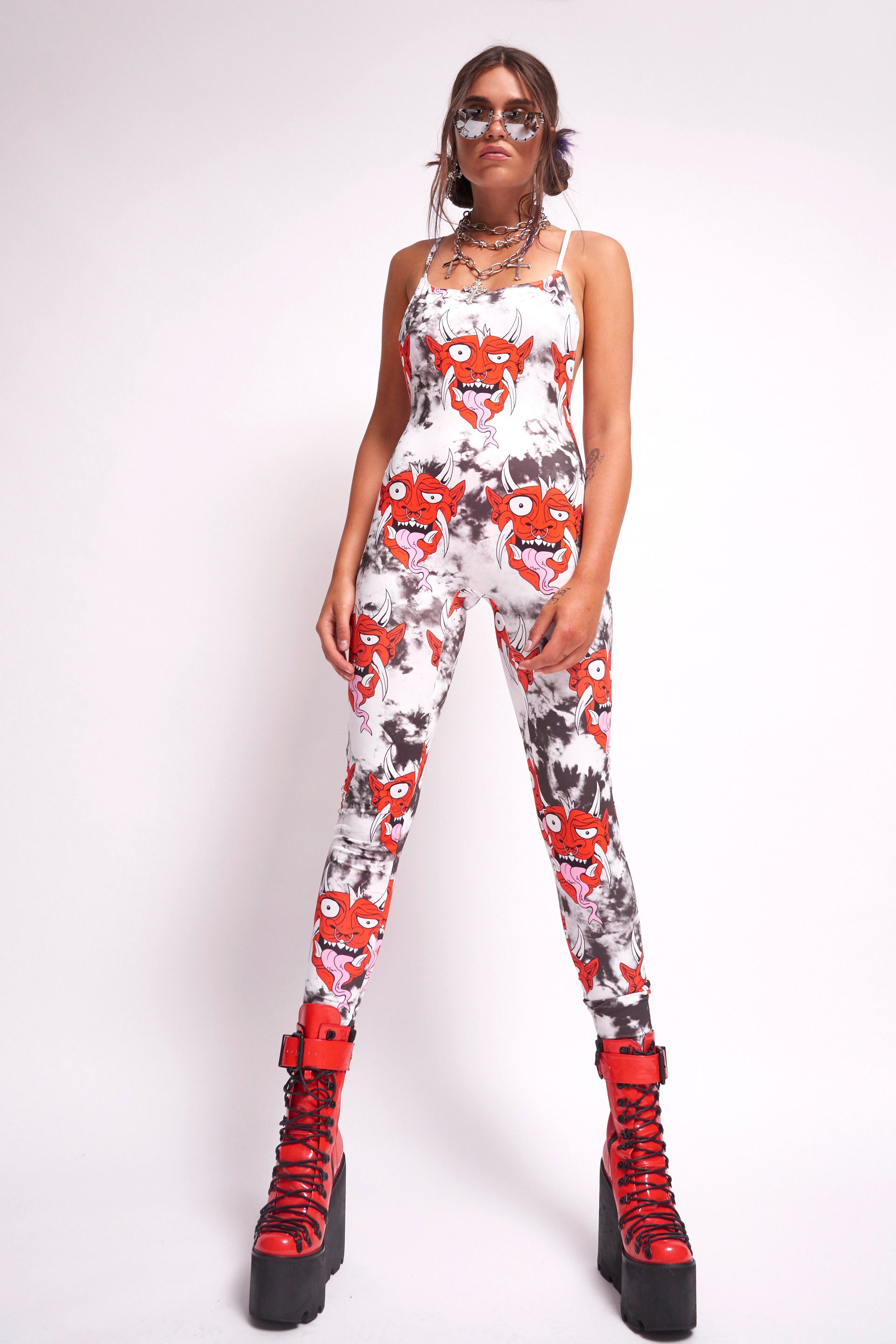 Devil Print Square Neck Catsuit