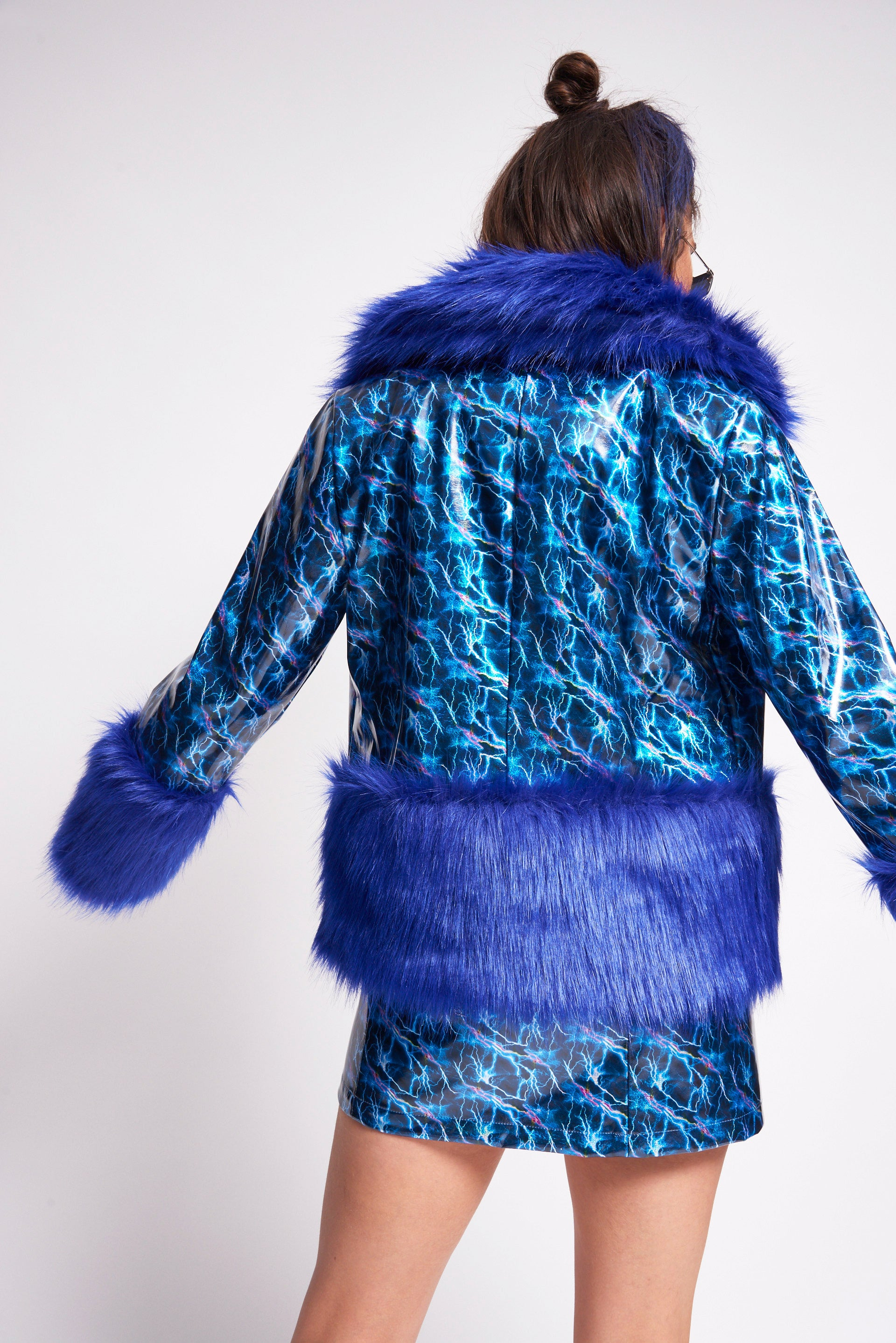 Lightning Print PU Coat with Faux Fur