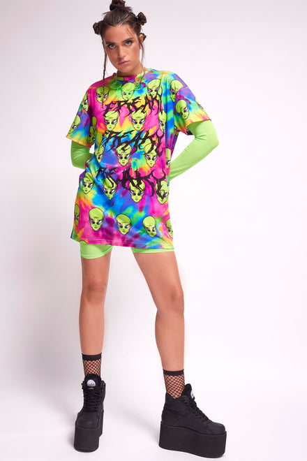 Freaky Alien Tie Dye T-Shirt Dress