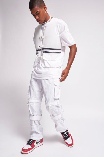 White Technical Jogger With Toggle Detail