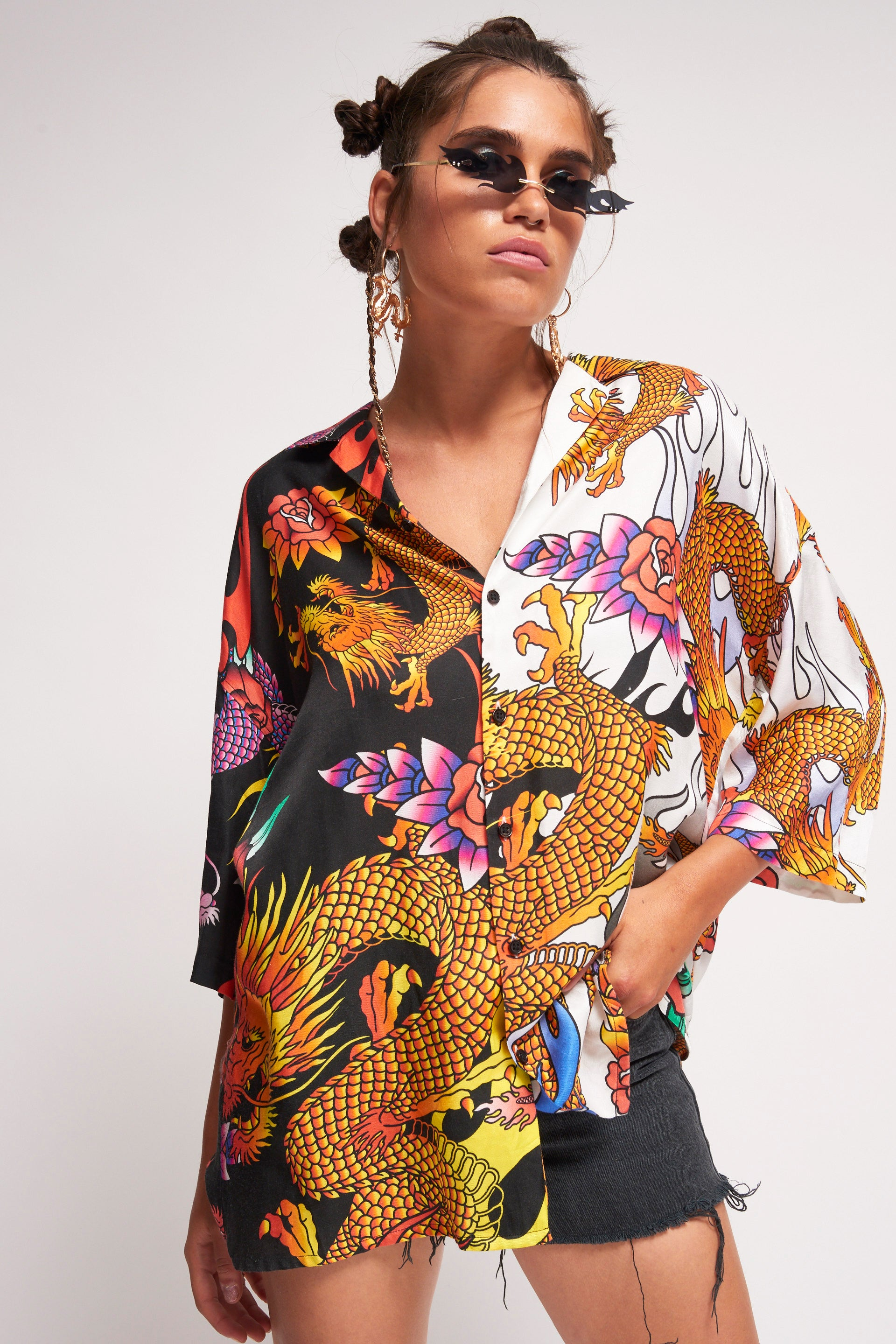 Half & Half Oversized Dragon Print Shirt