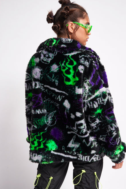 Graffiti Print Oversized Fleece Jacket