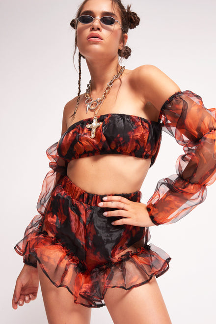 Black & Orange Tie Dye Organza Puff Sleeve Top