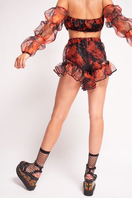 Black & Orange Tie Dye Organza Frill Edge Shorts