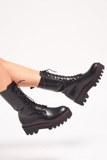 Lamoda Black Lace Up Boots