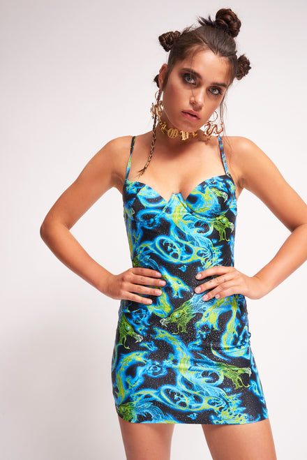 Blue Dragon Flame Print Extreme Cup Detail Dress