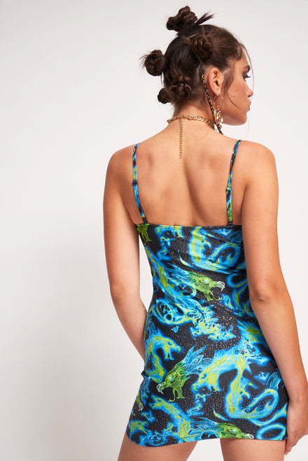 Blue Dragon Flame Print Extreme Cup Detail Beach Dress
