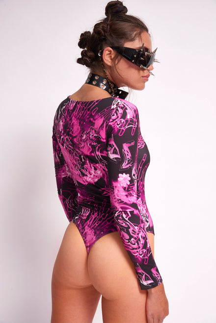 Pink Skull Print Long Sleeve Bodysuit