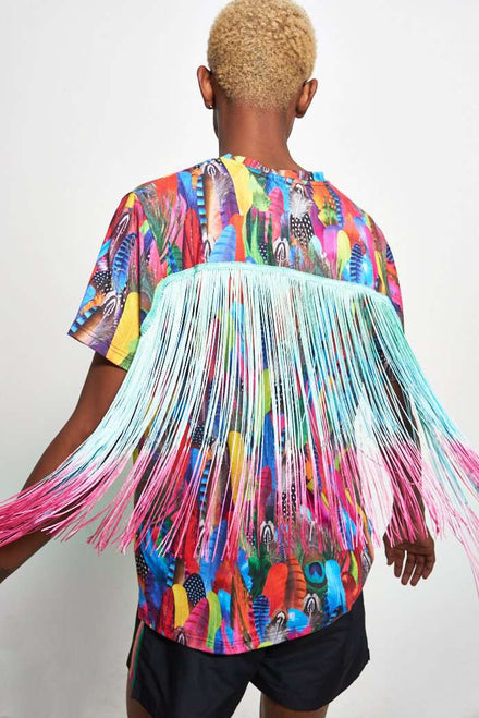 Tropical Feather Print Tee With Fringing