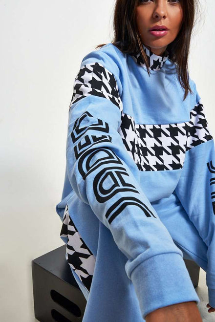 Baby Blue Dogtooth Sweat