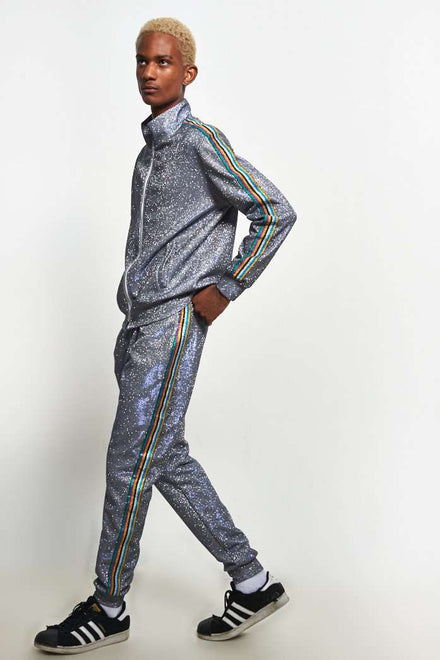Glitter Metallic Tracktop With Rainbow Taping
