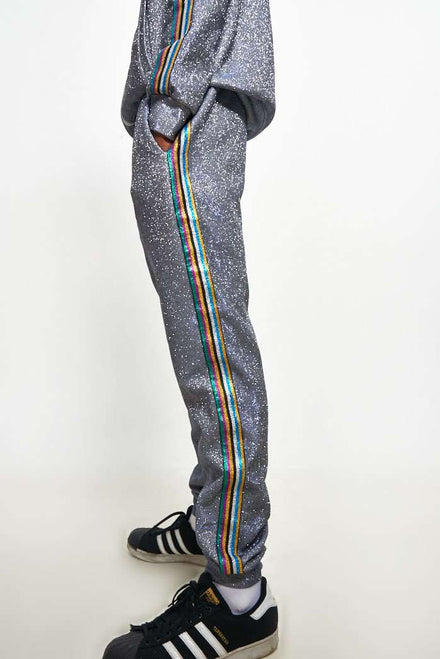 Glitter Metallic Jogger With Rainbow Taping