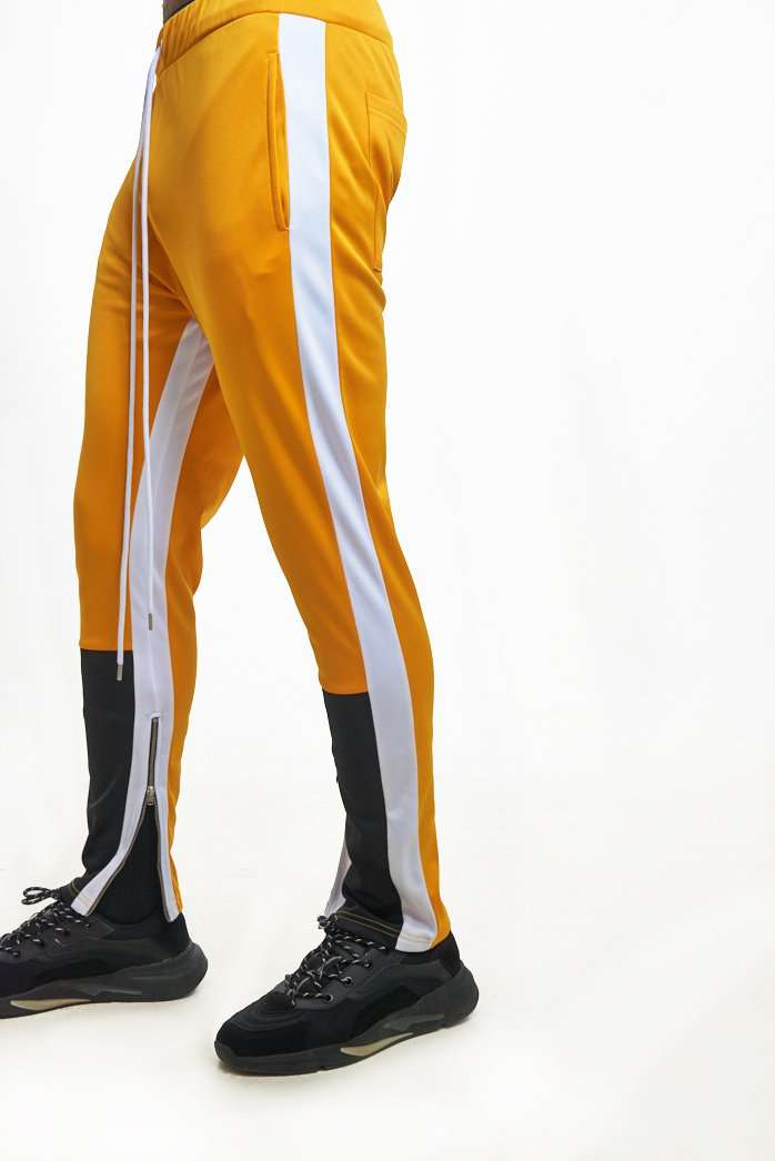 Granted London Yellow & Black Panelled Joggers