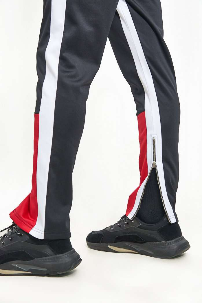 Granted Red & Black Paneled Joggers