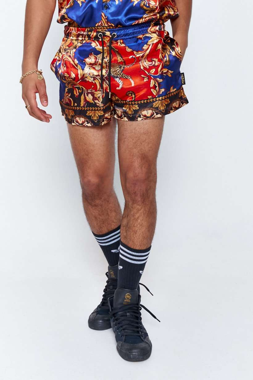 Leopard Baroque Satin Shorts