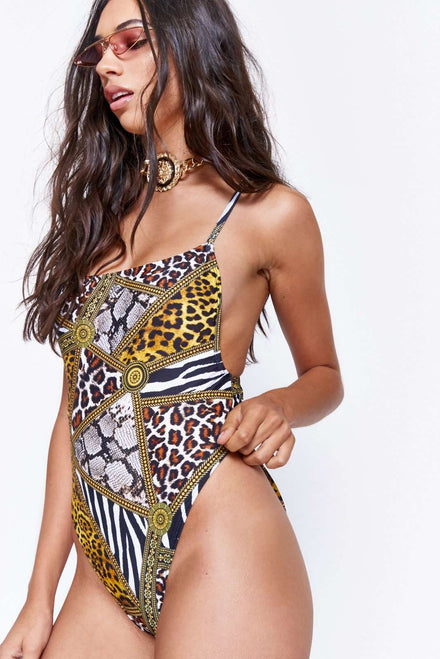 Animal Clash Print Square Neck Swimsuit