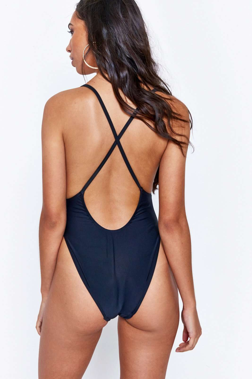 Black Rhinestone Square Neck Swimsuit