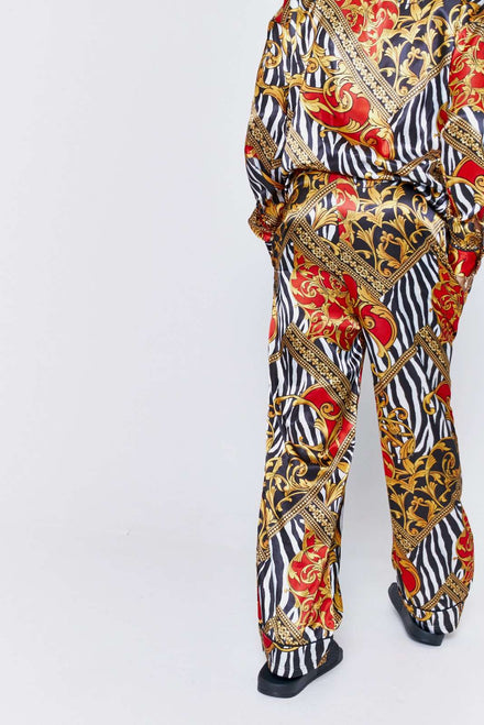 Zebra Baroque Satin Trousers