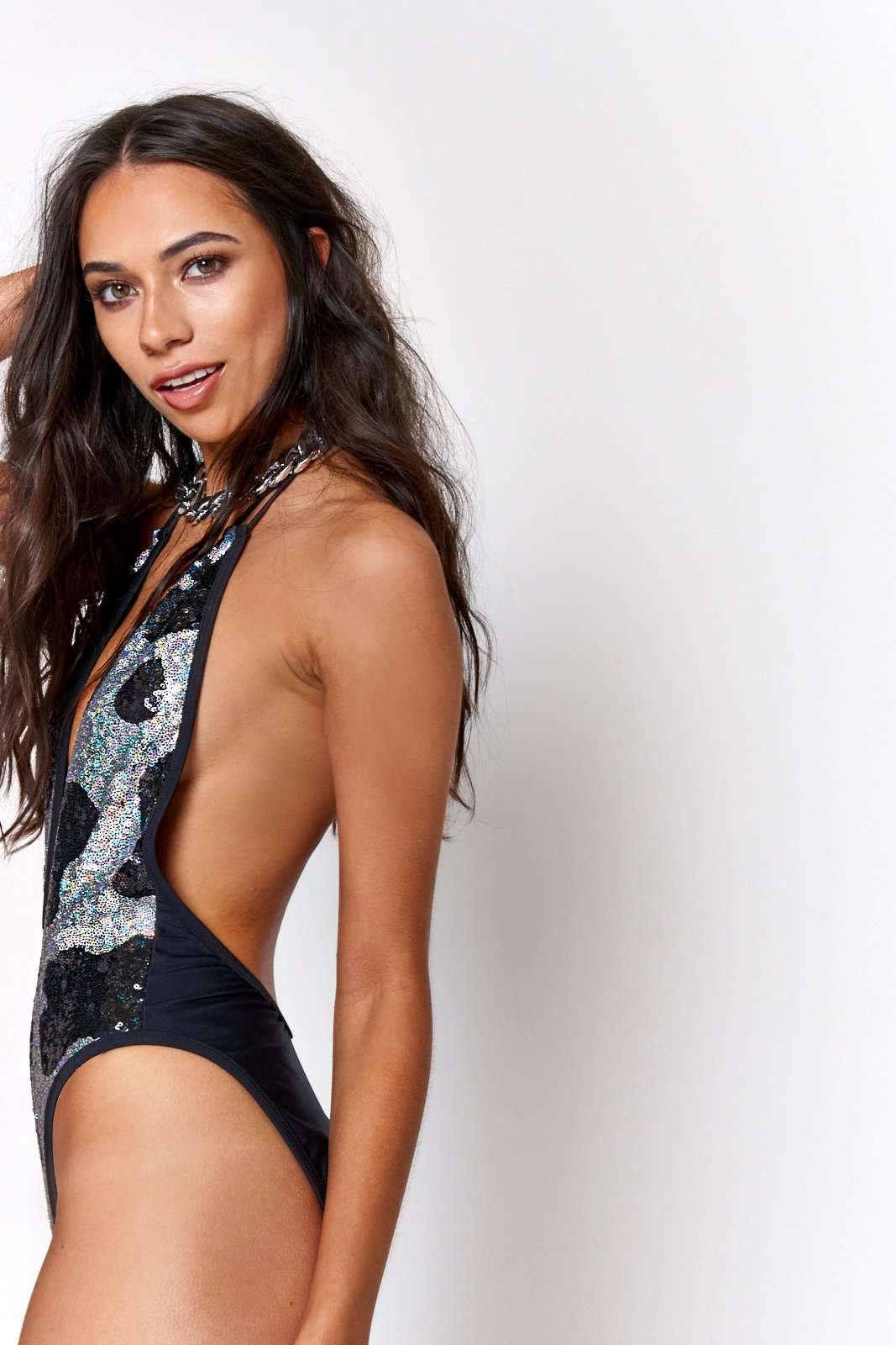 Cow Sequin Plunge Swimsuit