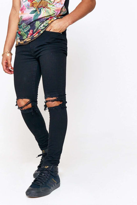 Black Super Skinny Jeans With Rips