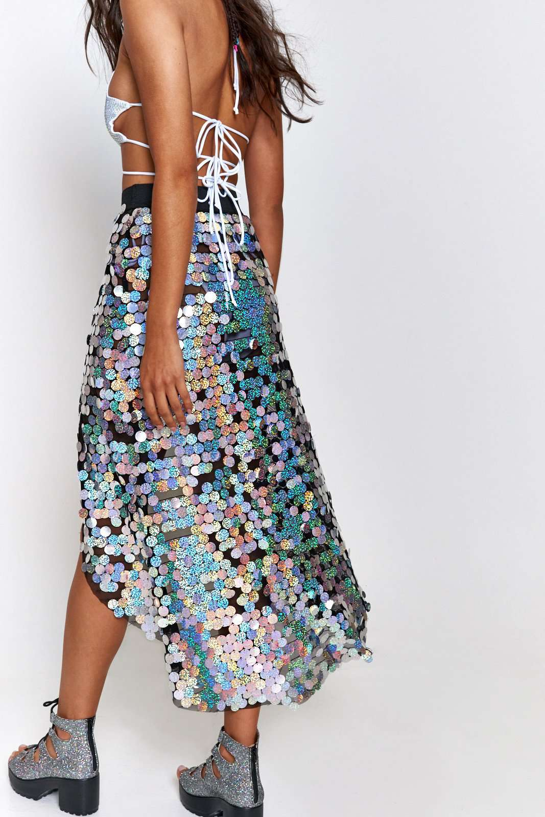 Silver Sequin Beach Skirt