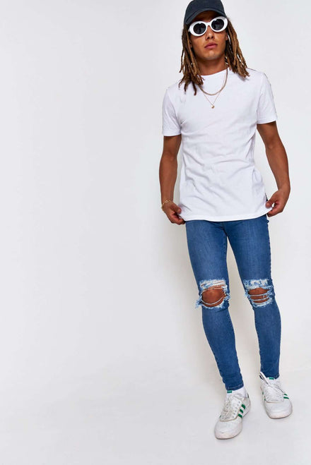 Blue Super Skinny Jeans With Rips