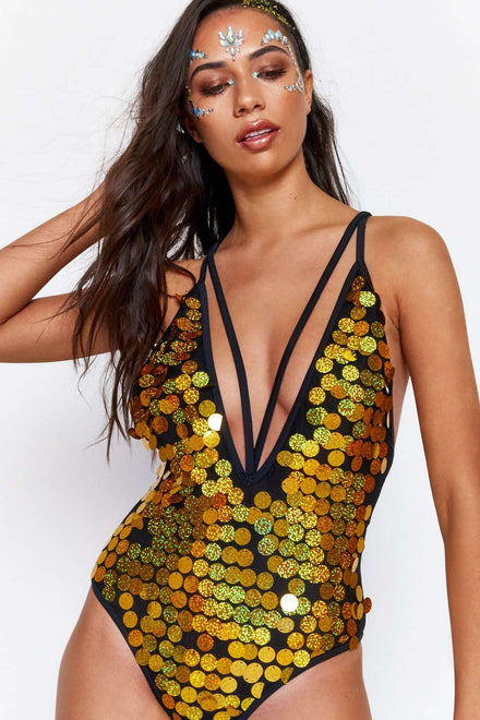 Gold Sequin Plunge Swimsuit