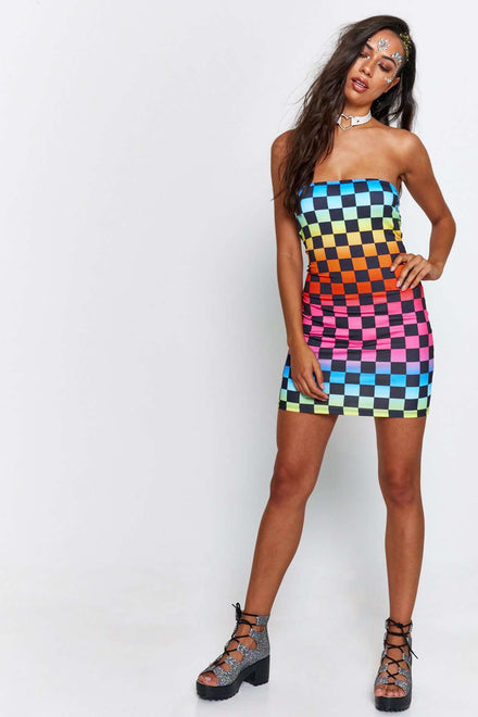 Rainbow Checkerboard Bandeau Mini Dress