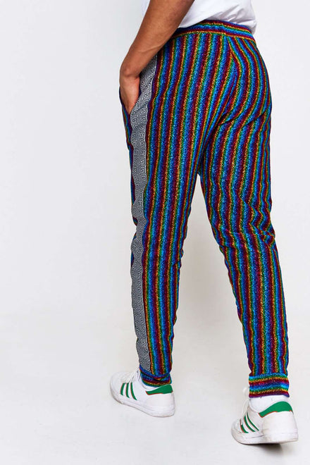Rainbow Stripe Metallic Joggers