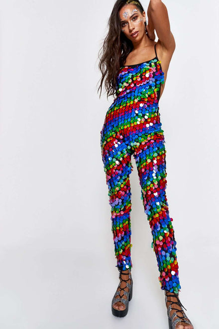 Rainbow Sequin Catsuit