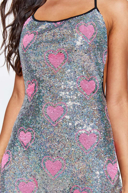 Heart Sequin Square Neck Catsuit