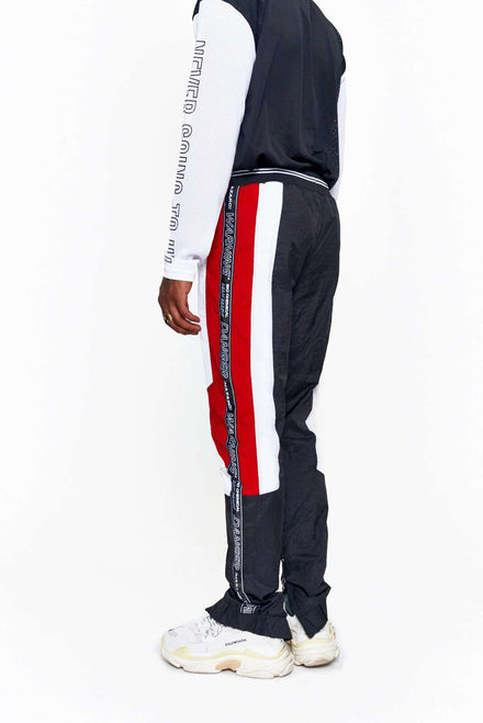 Granted Black & Red Shell Tracksuit Bottoms With Taping