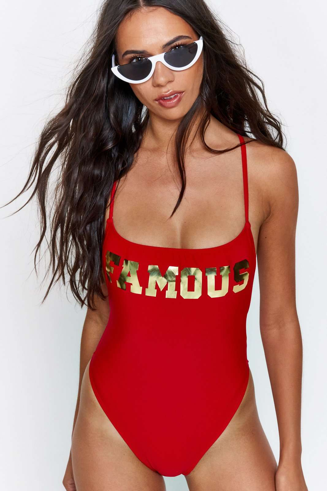 Red Cami Swimsuit With Gold Famous Slogan
