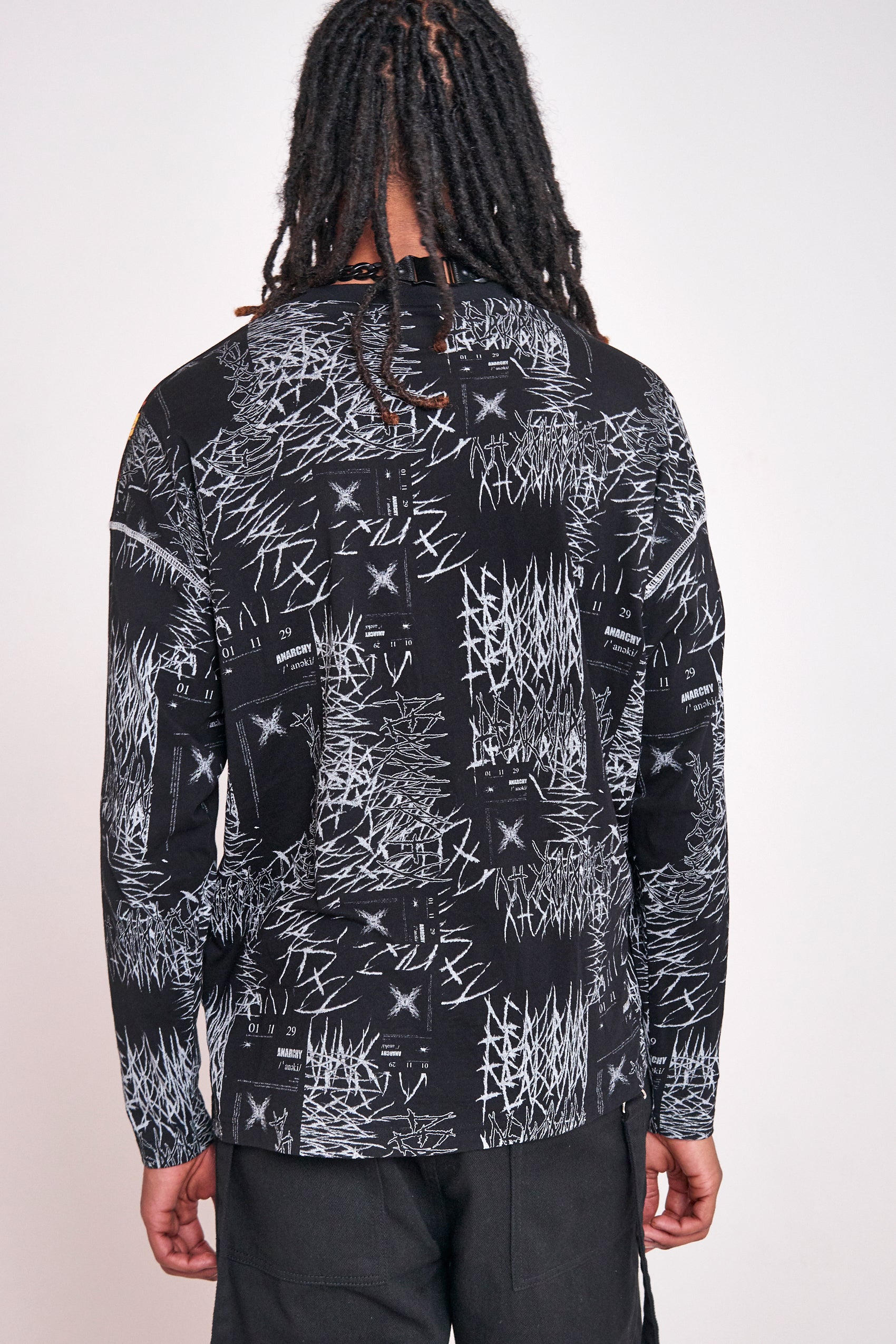Anarchy Skull & Flame Print Long Sleeve T-shirt