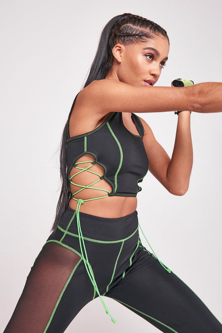 Green & Black Square Neck Sports Bra