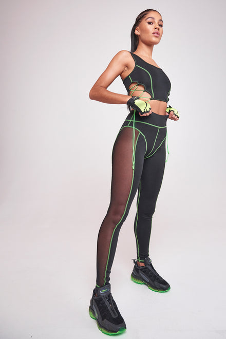Green & Black High Waist Sheer Panelled Leggings