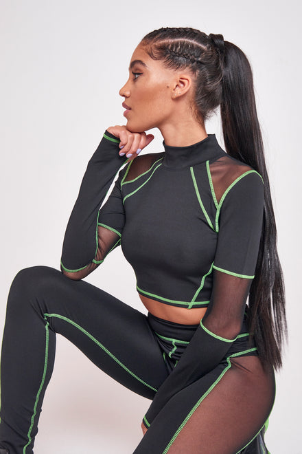 Green & Black High Neck Mesh Top
