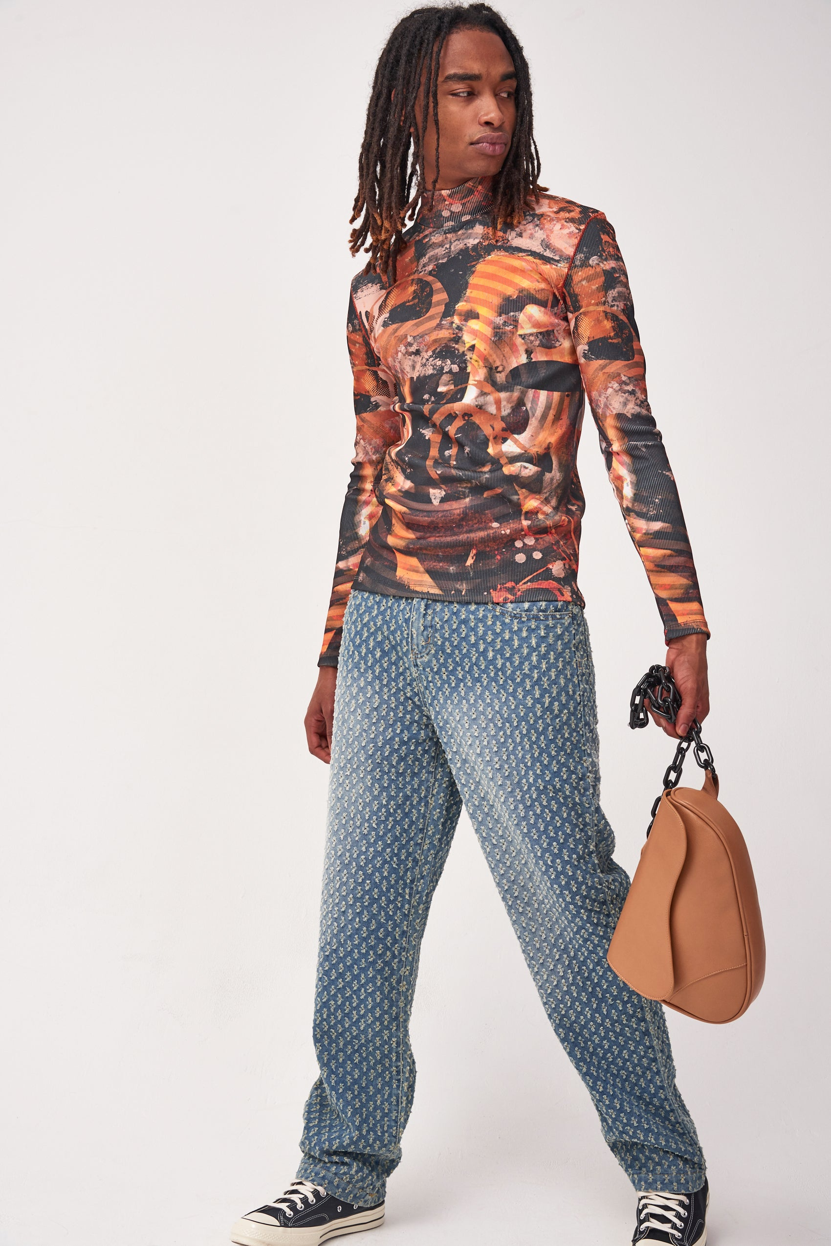 Abstract Renaissance Print Long Sleeve Top