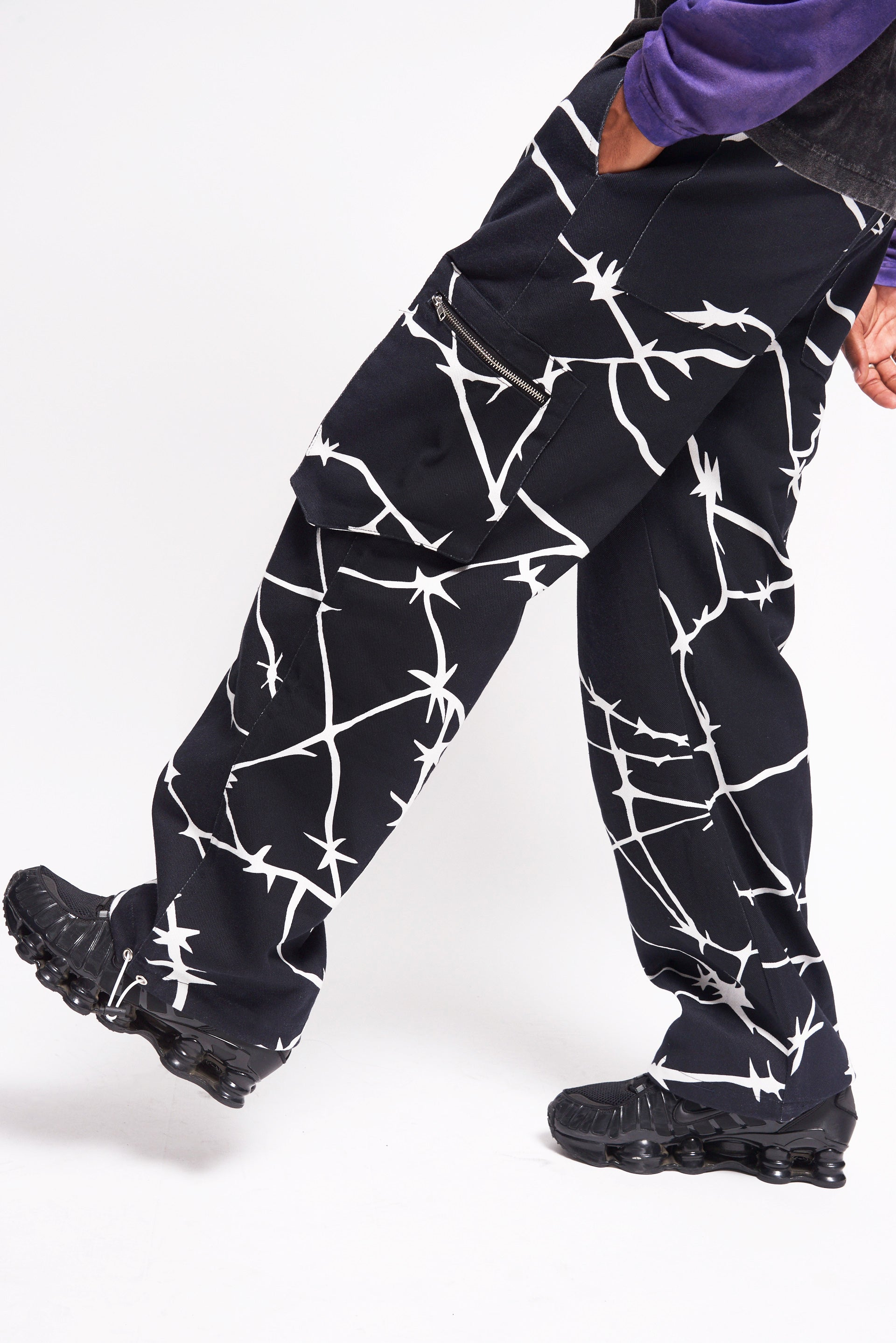 Barbed Wire Print Denim Cargo Trousers