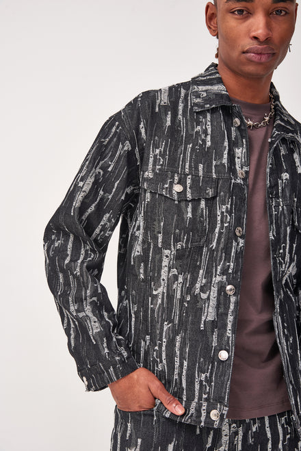 Black Drag Ripped Denim Jacket